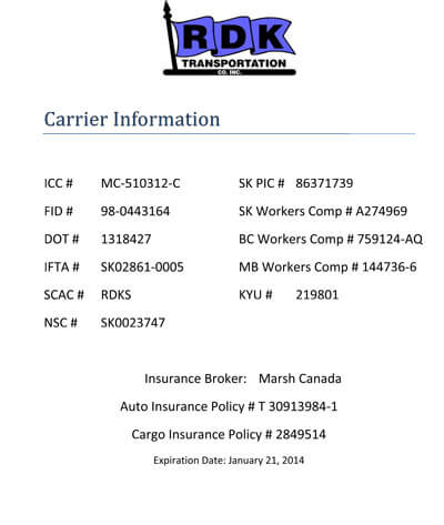 Carrier Numbers