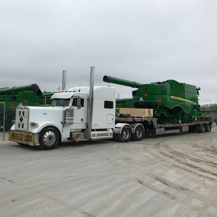 Semi pulling farming equipment